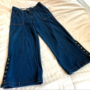 Anthropologie wide leg cropped jeans
